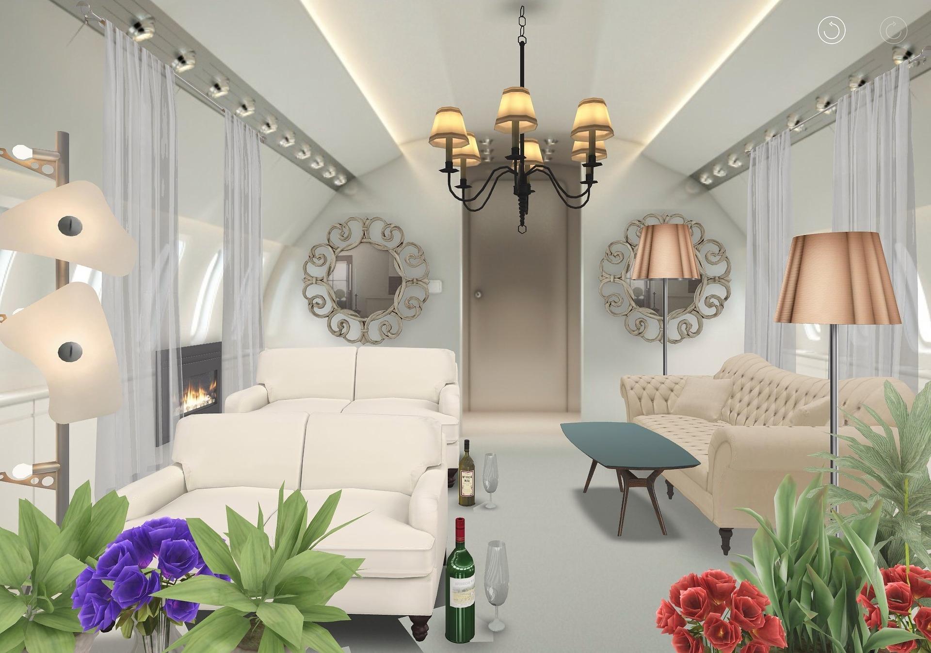 żyrandol w salonie z białymi kanapami
